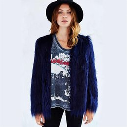Wholesale Winter Designer Womens Fur Coat Solid Color V Neck Long Sleeve Womens Outerwear Loose Sexy Ladies Fur Coats