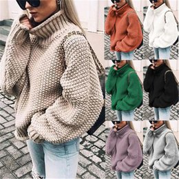 Wholesale long black sweater plus size for sale - Group buy New arrival Women Sweater Fashion Batwing Sleeve Loose Turtleneck Knitted Sweater Autumn Winter Long Sleeve Warm Solid Plus Size Pullover