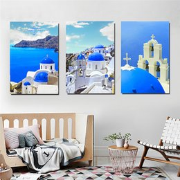 oil paint island Australia - Santorini Island Building Apartment Nordic Style Wall Art Canvas Painting Poster Abstract Print Decorative Picture Home Decor