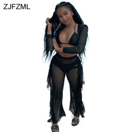 8627824322cc4e Black Mesh See Through Two Pieces Sets Long Sleeve Zipper Up Hooded Crop Top  And Double Side Ruffles Straight Pant Club Outfits