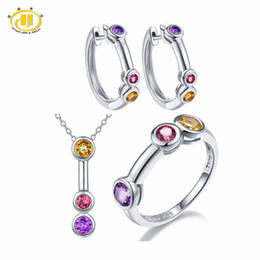 Amethyst bridAl jewelry online shopping - Hutang Jewelry Sets Natural Gemstone Amethyst Rhodolite Garnet Citrine Solid Sterling Silver Fine Bridal Fashion Jewelry New
