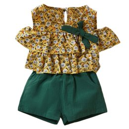 girls style summer shirt Australia - Kids Clothes Set Summer Style Girls Children Dandelion Print Chiffon Off Shoulder Shirt +Pocket Shorts Two Piece Sets Kids Casua