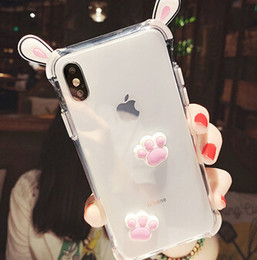 cat ears phone case 2019 - YunRT 3D Ear Cat claw Cute Cartoon Phone Case For iPhone 6 7 8 Plus Transparent Soft Silicone Anti-fall For iPhone X Xr