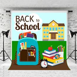 $enCountryForm.capitalKeyWord Australia - Dream 5x7ft Back to School Backdrop Building Backpack Apple Decor Photography Background for Children School Theme Photo Shoot Studio Prop