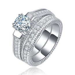 $enCountryForm.capitalKeyWord Australia - Top quality 925 Silver Wedding Ring Party Rings with cubic zirconia White Gold Rings Fits Suit Women Rings fine jewelry