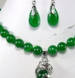 Beautiful Pendant Sets Australia - Necklace Jewelry 001238 Fashion Jewelry beautiful 10mm green jade earring dragon pendant Necklace set Natural jewel
