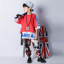 Wholesale boys hip hop pants kids for sale - Group buy Modern Boys Street Dance Set Hiphop Summer Children Jazz Dance Costume Kids Camouflage Pants Hip Hop Performance Costumes DL3529