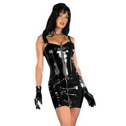 black mini tube dress NZ - Hot Sale Plus Size M-xxxl Sexy Wetlook Leather Women Clubwear Clothing Tube Dress,zipper Front, Black Pvc Leather Erotic Dress J190507