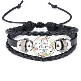$enCountryForm.capitalKeyWord Australia - Christian Bible lesson leather bracelets For women Christians Scripture Glass Time Gem Cabochon charm Bangle Fashion religious Jewelry Bulk