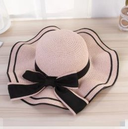 1848688abbe57 Floppy Foldable Sun Caps Ribbon Round Flat Top Straw Beach Hat Summer Hats  for Women Straw Hat