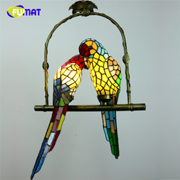 living rooms lights NZ - FUMAT Stained Glass Parrot Lights Creative Art Glass Bird Parrots Pendant Lamp For Living Room Glass Shade LED Pendant Light