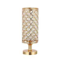 Wholesale led dress resale online - Retro Iron Gold Crystal Bedside Table Lighting for Living Room Loft Personal Office Dressing Table Home Interior Led Luminary