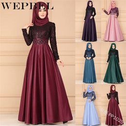 $enCountryForm.capitalKeyWord Australia - Wepbel New Fashion Women Vintage Arabian Style Muslim Elegant Long Sleeve High Waist Women Maxi Dress Long Dress Y19073001
