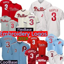 077ae78a3 Bryce 3 Phillies Baseball Jerseys Majestic White Official Cool Base Player  FlexBase Retro Light Blue Red Gray Cream