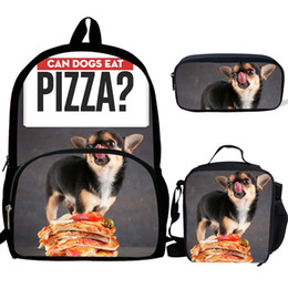 $enCountryForm.capitalKeyWord Australia - 3PS Customized Pug Dog Eat Pizza Pattern Print School Backpack For Girls Boys Orthopedic Schoolbag Backpacks Children Luch Bag