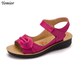 Sale Leather Sandals Canada - Yomior Genuine Leather Women Sandals Hot Sale Fashion Summer Sweet Women Mother Flats Heel Sandals Ladies Shoes Big Size