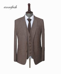 Brown Suits Style Australia - Custom Made Woolen Brown Herringbone Tweed Men Wedding Suit British Style Mens Suit Tailored Plus Size Blazer Suit T190619