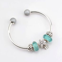 $enCountryForm.capitalKeyWord Australia - NEW 100% 925 Sterling Silver Bracelet Set For Europe Women Spring White Flowers DIY Gift Original Bangle & Green Charm Bead