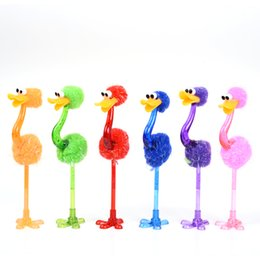 Stationery Australia - High quality Colorful Ostrich Ballpoint Pen Cute Stationery Kawaii Pen Kawaii Gifts for Children Students Wholesale