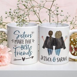 cute gifts for friends UK - Personalized Sisters Make the Best Friends Mug Cute Sisters Mug Personalized Names Sisters Mug Gift for Sister T200506