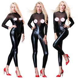 women costumes black tights NZ - Women Sexy Black Faux Leahter Bodysuit Long Sleeve Mesh Tight Jumpsuit Erotic Open Crotch Zipper Catsuit Clubwear