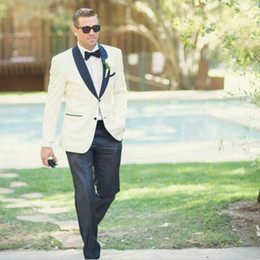 $enCountryForm.capitalKeyWord Australia - Ivory Beige Men Suits For Wedding Suits Custom Made Bridegroom Groomsmen Slim Fit Formal Groom Wear Best Man Jacket Tuxedos Blazer 2Pieces