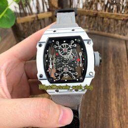 Watches Nylon Australia - Top version RM 27-01 Nadal Skeleton Dial White NTPT Carbon Fibre Case Japan Miyota Automatic 27-01 Mens Watch Gray Nylon Strap Sport Watches