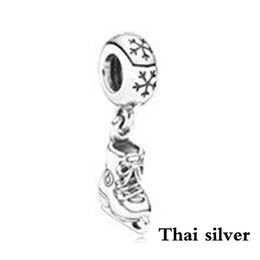 charm jewelry limited Australia - 2019 NEW Thai Silver Vintage Ice Skate Dangle Charm Pendant Limited Edition Original Jewelry Wedding Charming Women's Gift