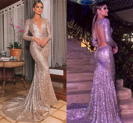 sparkle open back prom dresses 2019 - Modest Arabic Long Sleeve Evening Dresses Sparkle Sequined Mermaid Plunging Neck Open Back Long Pageant Party Gowns Prom