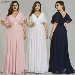 Pretty White Prom Dresses Australia - Plus Size Pink Prom Dresses Long Ever Pretty V-neck Chiffon A-line Robe De Soiree Navy Blue Formal Party Gowns For Women Q190516