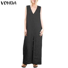 a26f08c15e VONDA 2019 Summer Rompers Womens Jumpsuits Sexy V Neck Sleeveless Long  Playsuits Fashion Casual Loose Solid Overalls Plus Size