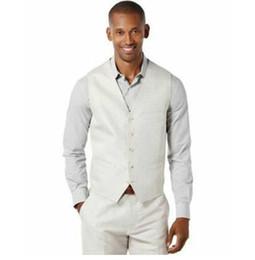 $enCountryForm.capitalKeyWord Canada - WL 2019 Ivory Linen Men Suits for Beach Wedding Groom Tuxedos 2Piece Waist Coat Trousers Slim Terno Masculino