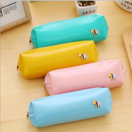 Cute Japanese Stationery Wholesale Australia - 1 Pcs Useful Cute Pencil Case Japanese Korean Leather Cosmetic Pouch School Supplies Office Accessories Stationery Yellow Blue