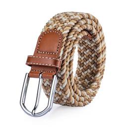 $enCountryForm.capitalKeyWord Australia - Fashion Elastic Woven Belts Mens Luxury Waist Straps Womens Shorts Waistbands Unisex Ceinture Casual Striped Jeans Belt