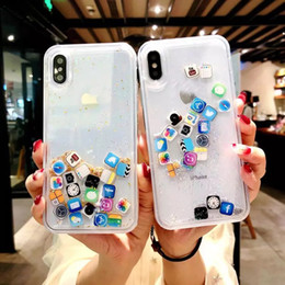 Iphone cute online shopping - Designer caso luxury Liquid Hard PC Clear Phone Shell For iPhone S Plus X XS XR MAX Cases Quicksand Cover Cute APP icon Case Capa