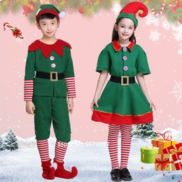 Discount kid dress years boy Christmas Cosplay Halloween Costumes for Kids Boy Girls Elf Dress New Year Xmas Carnival Party Santa Claus with Hat Gift
