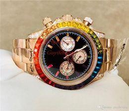 Luxury mens watches automatic chronograph online shopping - Luxury Mens Watches RBOW Automatic movement Men Diamond Rainbow Crystal Watch No Chronograph Christmas present gift