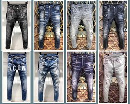Wholesale famous jeans for sale – denim 2019 New FAMOUS Fashion Designer Distressed Ripped mens Jeans Motorcycle Biker Jeans Causal HOLE Denim Pants Streetwear mens Jeans