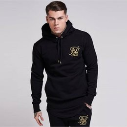 Wholesale black silk clothing for sale - Group buy Fashion Men Hoodies and Sweatshirts brand clothing Top quality casual Male Fitness bodybuilding Sik Silk Hooded Sweatshirt