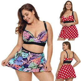 Women Plus Size Sexy Two-piece Bikini Set Deep V-neck Polka Dot Leaves Print Bra Swimsuit High Waist Swing Skirt With Briefs New Novelty & Special Use Yoga