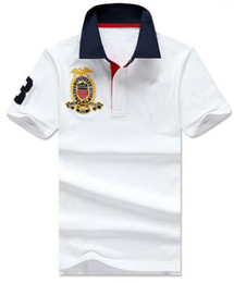 white horse clothing NZ - Summer Style Men Casual Polo Shirt Big Horse Embroidery Fashion Clothing Solid Mens Casual T-shirts Business Sport Polos Size S-XXL White