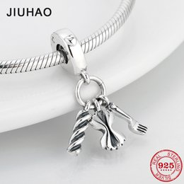 8bacf3a8c 925 Sterling Silver Italy Pasta And Fork With Love Heart fine Pendants  beads Fit Original Pandora Charm Bracelet Jewelry making