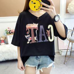 $enCountryForm.capitalKeyWord Australia - Summer Cat T-shirts Womens Midi Long Stitching Casual Loose Half Sleeve V Neck Large Size Tops Letter Printed 2019 TShirts Black