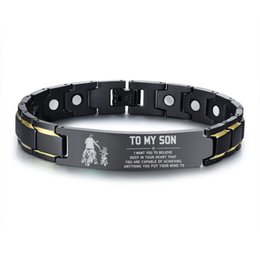 Box son online shopping - Free Customize Magnetic Therapy Health ID Men s Bracelet TO MY SON Black Stainless Steel Chain