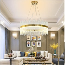 Double Touch Light Switches Australia - 2019 NEW Design Modern Crystal Round LED Pendant Lights Industrial Gold Bar Stair Dining Room Fixtures Single layer double layer