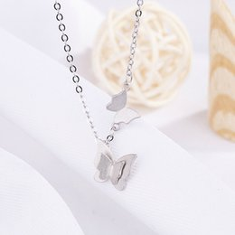 Wholesale Titanium Steel Frosted Matt Butterfly Clavicle Chain Necklace Rose Gold and Silver Double Butterfly Gift for Women Girls