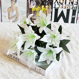 silk lilies for home decoration 2019 - 10Head 48cm Artificial Lily Silk Flower Wedding Decoration Flower Christmas Gift DIY Crafts Fake Flowers for Home Party