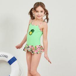Fresh swimwear online shopping - New European and American Hot Selling Swimwear Suspender with Pure Broken Flowers and Fresh Pineapple Girls Swimwear in