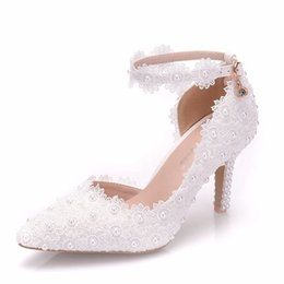 Shoes Women High Heel White Australia - White Lace Flower Wedding Shoes Slip On Pointed Toe Bridal Shoes High Heel Women Pumps Shallow Pointed Toe 8Cm