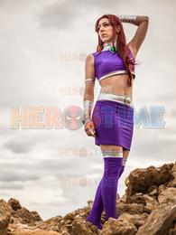 Titan Suit Australia - Teen Titans Starfire Cosplay Costumes Adults Kids Superhero Bodysuit Halloween Party Lycra Spandex Shiny Metallic Zentai Suit